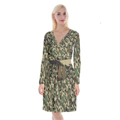 Army Camouflage Long Sleeve Velvet Front Wrap Dress