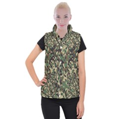 Army Camouflage Women s Button Up Puffer Vest
