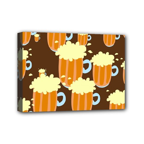 A Fun Cartoon Frothy Beer Tiling Pattern Mini Canvas 7  x 5