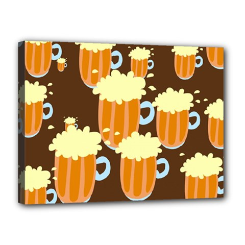 A Fun Cartoon Frothy Beer Tiling Pattern Canvas 16  x 12