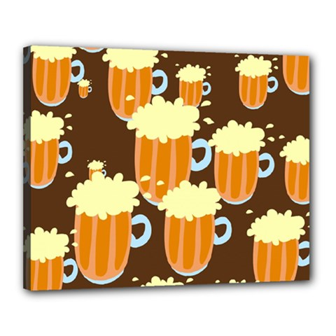 A Fun Cartoon Frothy Beer Tiling Pattern Canvas 20  X 16