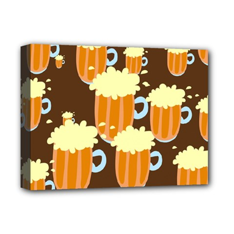A Fun Cartoon Frothy Beer Tiling Pattern Deluxe Canvas 16  X 12