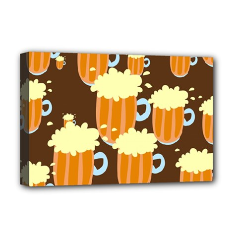 A Fun Cartoon Frothy Beer Tiling Pattern Deluxe Canvas 18  x 12
