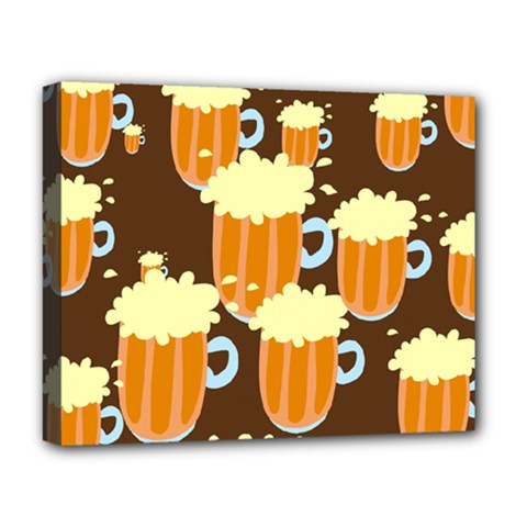 A Fun Cartoon Frothy Beer Tiling Pattern Deluxe Canvas 20  x 16