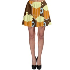A Fun Cartoon Frothy Beer Tiling Pattern Skater Skirt