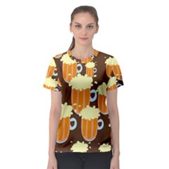 A Fun Cartoon Frothy Beer Tiling Pattern Women s Sport Mesh Tee
