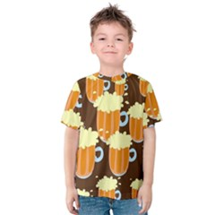 A Fun Cartoon Frothy Beer Tiling Pattern Kids  Cotton Tee