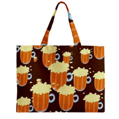 A Fun Cartoon Frothy Beer Tiling Pattern Mini Tote Bag