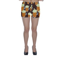 A Fun Cartoon Frothy Beer Tiling Pattern Skinny Shorts