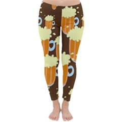 A Fun Cartoon Frothy Beer Tiling Pattern Classic Winter Leggings