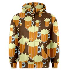 A Fun Cartoon Frothy Beer Tiling Pattern Men s Zipper Hoodie