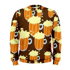 A Fun Cartoon Frothy Beer Tiling Pattern Men s Sweatshirt