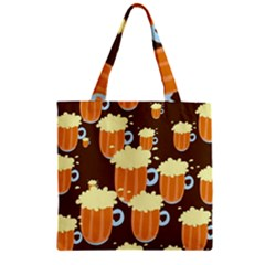 A Fun Cartoon Frothy Beer Tiling Pattern Zipper Grocery Tote Bag