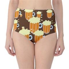 A Fun Cartoon Frothy Beer Tiling Pattern High Waist Bikini Bottoms