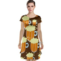 A Fun Cartoon Frothy Beer Tiling Pattern Cap Sleeve Nightdress
