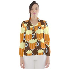 A Fun Cartoon Frothy Beer Tiling Pattern Wind Breaker (women)