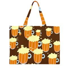 A Fun Cartoon Frothy Beer Tiling Pattern Large Tote Bag