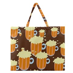 A Fun Cartoon Frothy Beer Tiling Pattern Zipper Large Tote Bag