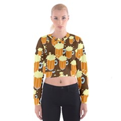 A Fun Cartoon Frothy Beer Tiling Pattern Cropped Sweatshirt
