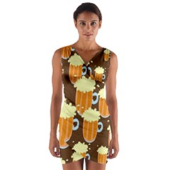 A Fun Cartoon Frothy Beer Tiling Pattern Wrap Front Bodycon Dress