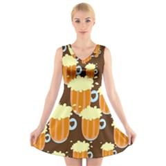 A Fun Cartoon Frothy Beer Tiling Pattern V Neck Sleeveless Skater Dress