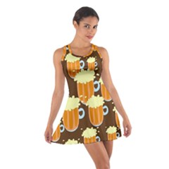 A Fun Cartoon Frothy Beer Tiling Pattern Cotton Racerback Dress