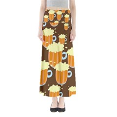 A Fun Cartoon Frothy Beer Tiling Pattern Maxi Skirts