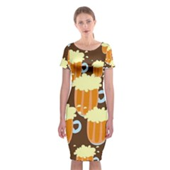 A Fun Cartoon Frothy Beer Tiling Pattern Classic Short Sleeve Midi Dress