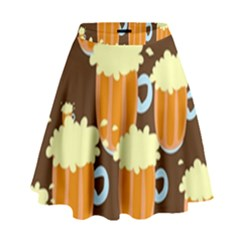 A Fun Cartoon Frothy Beer Tiling Pattern High Waist Skirt