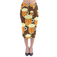A Fun Cartoon Frothy Beer Tiling Pattern Midi Pencil Skirt