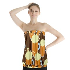 A Fun Cartoon Frothy Beer Tiling Pattern Strapless Top