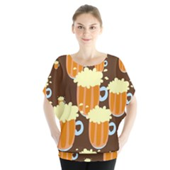 A Fun Cartoon Frothy Beer Tiling Pattern Blouse