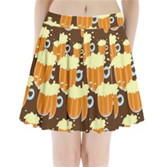 A Fun Cartoon Frothy Beer Tiling Pattern Pleated Mini Skirt