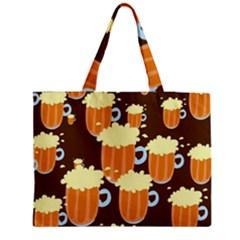 A Fun Cartoon Frothy Beer Tiling Pattern Medium Zipper Tote Bag