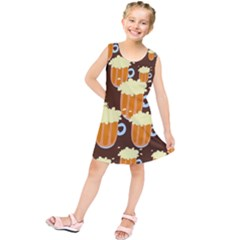 A Fun Cartoon Frothy Beer Tiling Pattern Kids  Tunic Dress