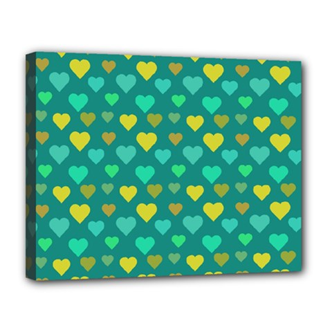 Hearts Seamless Pattern Background Canvas 14  x 11