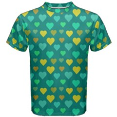 Hearts Seamless Pattern Background Men s Cotton Tee
