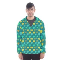 Hearts Seamless Pattern Background Hooded Wind Breaker (men)