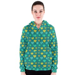 Hearts Seamless Pattern Background Women s Zipper Hoodie
