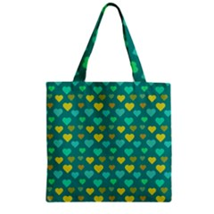 Hearts Seamless Pattern Background Zipper Grocery Tote Bag