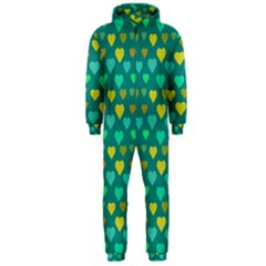Hearts Seamless Pattern Background Hooded Jumpsuit (men)