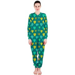 Hearts Seamless Pattern Background Onepiece Jumpsuit (ladies)