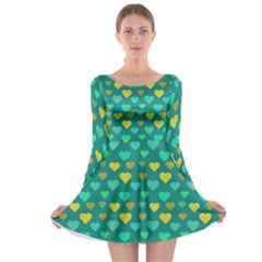 Hearts Seamless Pattern Background Long Sleeve Skater Dress