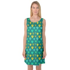 Hearts Seamless Pattern Background Sleeveless Satin Nightdress