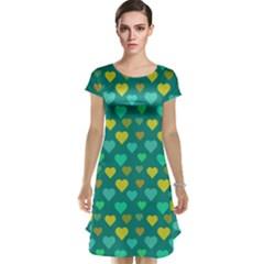 Hearts Seamless Pattern Background Cap Sleeve Nightdress