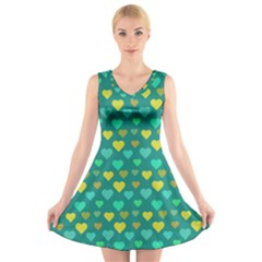 Hearts Seamless Pattern Background V Neck Sleeveless Skater Dress