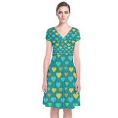 Hearts Seamless Pattern Background Short Sleeve Front Wrap Dress