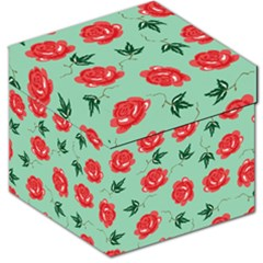 Red Floral Roses Pattern Wallpaper Background Seamless Illustration Storage Stool 12
