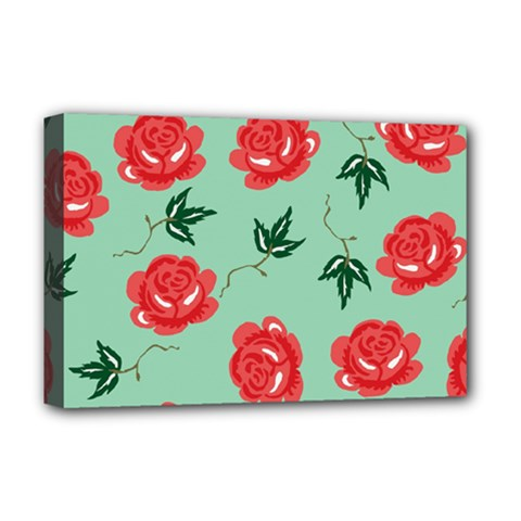 Red Floral Roses Pattern Wallpaper Background Seamless Illustration Deluxe Canvas 18  x 12