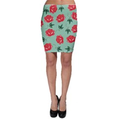Red Floral Roses Pattern Wallpaper Background Seamless Illustration Bodycon Skirt